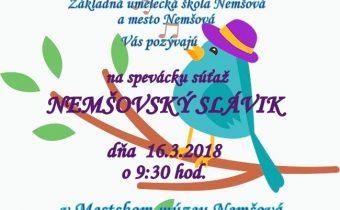 Pozvánka na spevácku súťaž žiakov  základných škôl a žiakov ZUŠ Nemšová